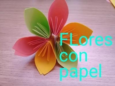 FLORES CON HOJAS DE COLORES MUY FÁCIL!!!!