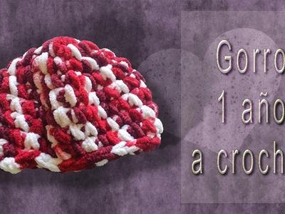 Gorro a ganchillo.crochet para niño de 9 meses - 1 año muy fácil