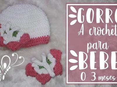 Gorro Con Mariposa Para Bebé | Tejido A Crochet