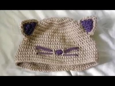 Gorro de gato tejido a crochet