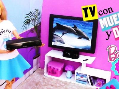Haz un TELEVISOR con su MUEBLE y DVD para MUÑECAS Barbie muy FÁCIL! MANUALIDADES PARA MUÑECAS