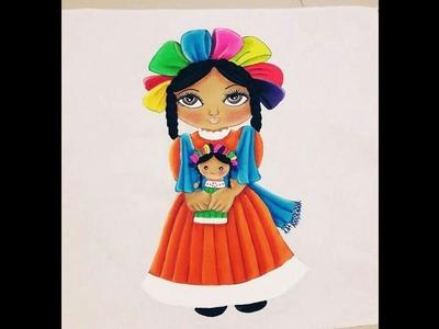 MUÑECA ARTESANAL OTONI TIPICAS MEXICANAS  PINTURA EN TELA PARTE #2.2