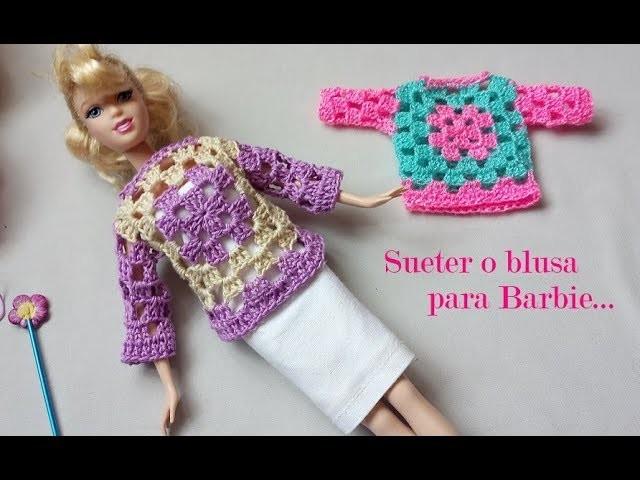 Suéter o blusa para Barbie a crochet
