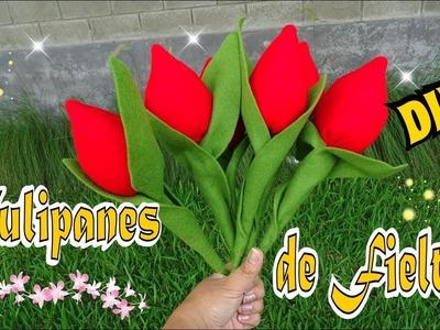Tulipanes de fieltro Faciles - DIY Mis Flores de Tela Tutorial