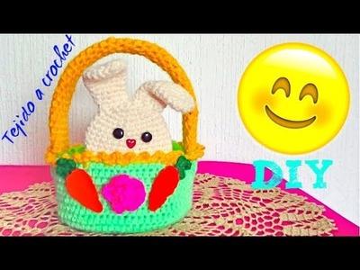 ADORNO PARA TU CASA - CANASTA TEJIDA  con Conejitos Tejida a crochet !!! - Tutorial Rapido