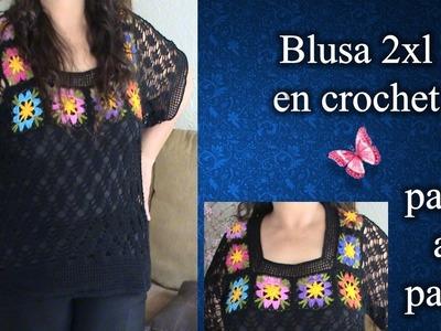 BLUSA 2XL en crochet PASO A PASO 3 de 3