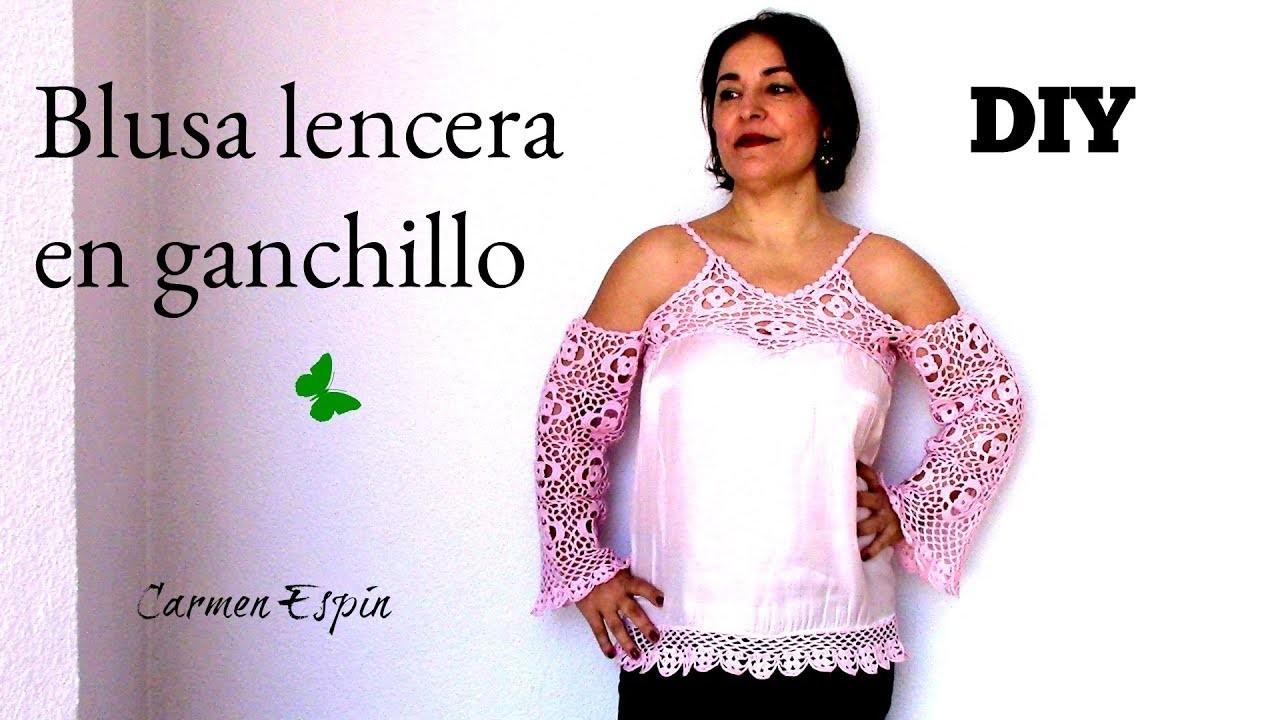BLUSA DE GANCHILLO Y RASO:DIY