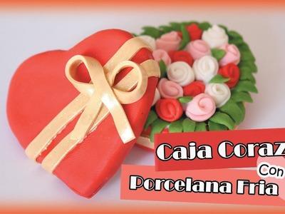 Caja Corazon con Flores    PORCELANA FRIA
