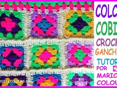 """Colcha a Crochet Ganchillo FÁCIL Granny Square """"Maricita"""" PASO A PASO  por Maricita Colours"""