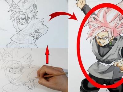 Como dibujar (FÁCIL MÉTODO PARA PRINCIPIANTES ) y como colorear, pintar a black Goku ssj rose