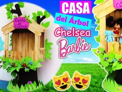 Como hacer CASA del ÁRBOL para MUÑECAS Barbie CHELSEA muy FÁCIL! MANUALIDADES PARA MUÑECAS