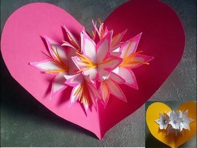 Cómo hacer tarjetas pop up de flores.  Manualidades de papel