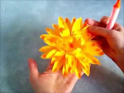 Cómo hacer una flor dalia de papel.  Manualidades infantiles fáciles y rápidas