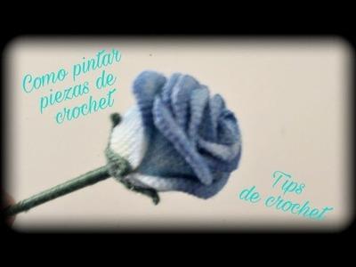 Como pintar piezas crochet con sombras || Tips de crochet o ganchillo.