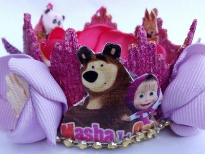 Corona de encaje Másha y El oso.tiaras.balacas.vinchas.manualidades