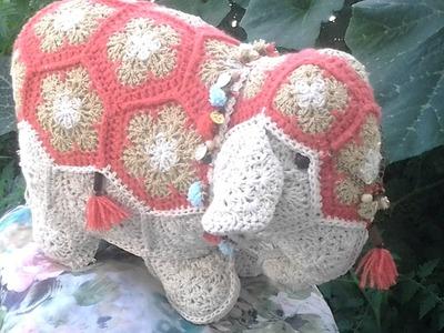 Crochet patchwork flores africanas elefante