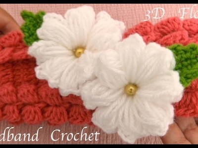 Diadema a Crochet con flores 3D en punto trenzas mariposas tejido tallermanualperu