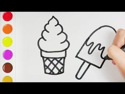 Dibuja y Colorea Helados   Página de Colores    Dibujos para Niños