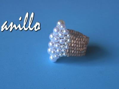 DIY - Anillo perlas - Miyuki  - Pearl ring - Miyuki