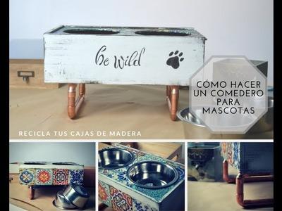 DIY Cómo hacer un comedero para mascotas. Recicla cajas de madera