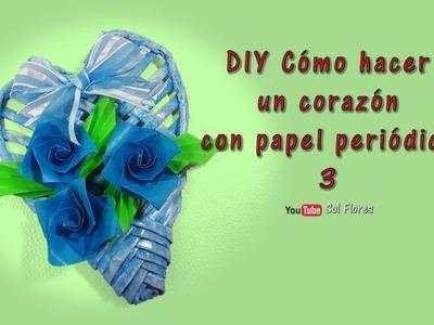 DIY Cómo hacer un corazón con papel periódico 3