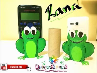DIY Manualidad  para niños- Rana hecha con tubitos de papel higienico, Facil de hacer