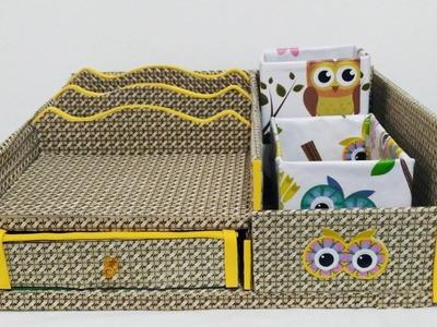 DIY- Organizador para maquillaje, fácil, hermoso y económico. Utilizando sólo cartón y tela