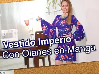 DIY Vestido Imperio con Olanes en Mangas- Empire dress with frills in sleeve - Omaira tv