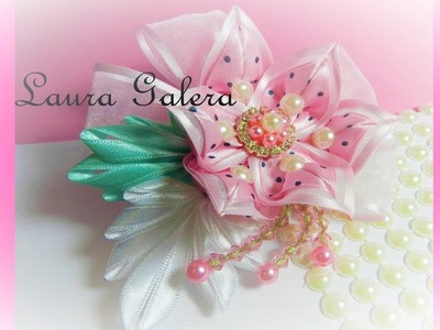 Flor con hojas para moño y tiara  Flower with leaves for bow