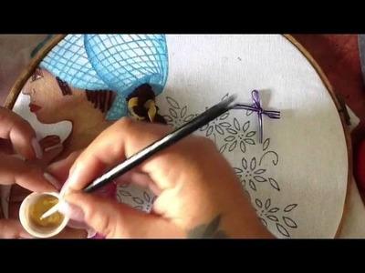 Pintura en tela pañuelo y trenza de niña con Cony