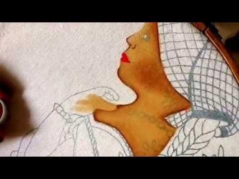Pintura en tela rostro y manos de niña con Cony