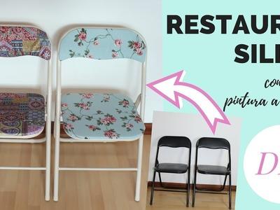 Restaurar sillas con tela y pintura a la tiza | DIY