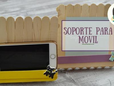 Soporte para el móvil o tablet. Manualidades Con Palitos de Madera. Manualidades Y Recetas.