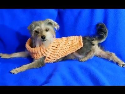 Sueter o jersey para perro  tejido con telar.knitting loom dog sweater