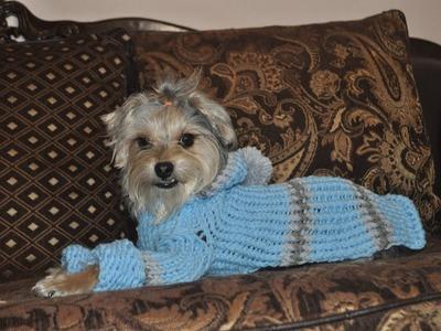 Sueter o jersey para perro tejido con telar knitting loom dog sweater