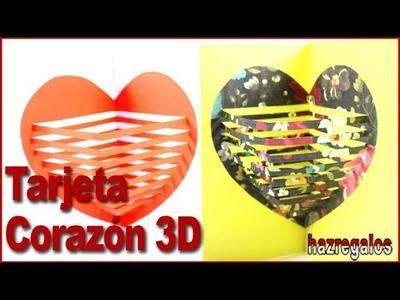 TARJETA CORAZON EN 3D MUY ORIGINAL