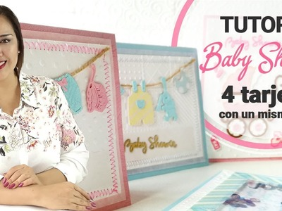 Tutorial 4 Invitaciones para Baby Shower con el mismo set de sellos - Claudia Rafaella