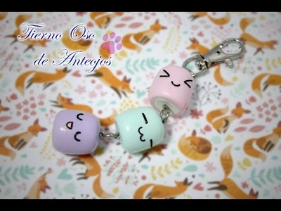 Tutorial marshmallow key chain Polymer Clay. Cold Porcelain. Air dry clay