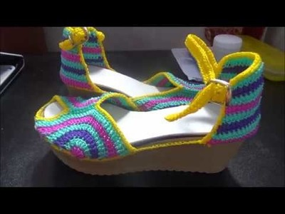 Zapatos tejidos a Crochet mod  Katy parte 2