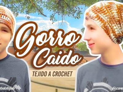 APRENDE A TEJER GORRO CAIDO A CROCHET | Canela♥