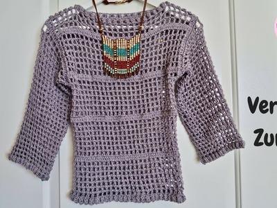 Blusa básica manga larga a crochet paso a paso (Versión Zurda)