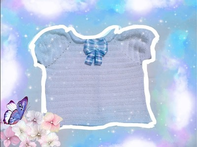 Blusa mangas de farol tejida a crochet