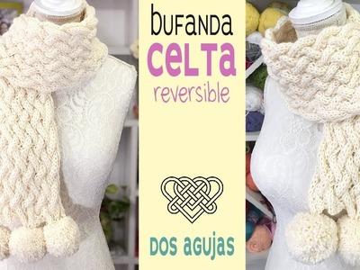 Bufanda en punto CELTA REVERSIBLE tejida a dos agujas con pompones   Tejiendo Perú