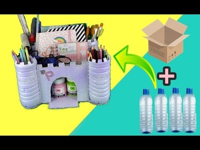 Castillo con botellas de plástico y cartón - MANUALIDADES FACILES para hacer en CASA