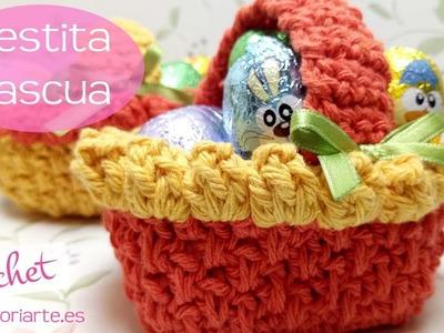 Cesta de ganchillo para huevos de pascua de chocolate. Crochet basket for Easter eggs.