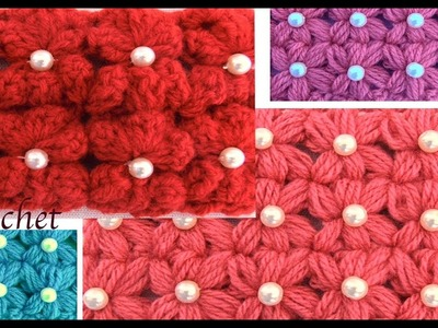 Como tejer con Gancho Crochet punto flores lazitos en 3D tejido tallermanualperu