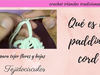Crochet irlandés: qué es el padding cord o bourdon- Tejidocirculos