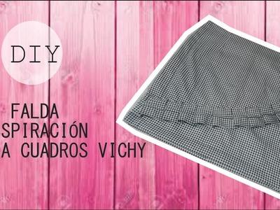 DIY Como hacer una falda de una camisa. inspiración falda cuadros vichy  H&M