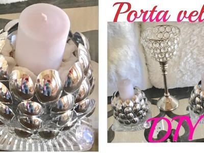 DIY- PORTA- VELAS EN FORMA DE FLOR CON CUCHARAS PLÁSTICAS. CANDLE HOLDER WITH PLASTIC SPOONS. MARIA