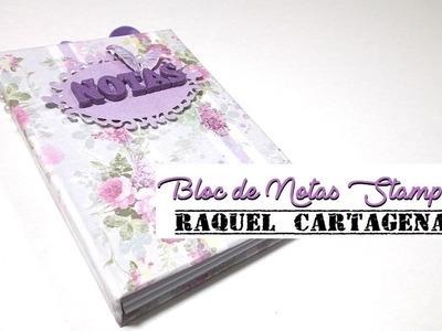 DIY TUTORIAL bloc de notas Stamperia Lilac Flowers paso a paso scrapbooking